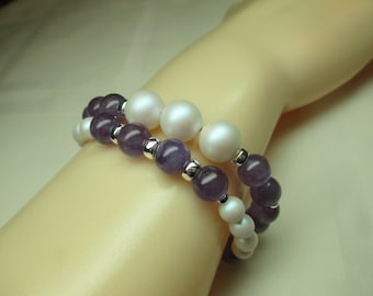 Two Strand Purple and White Pearl Bracelet