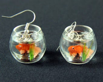 Goldfish in a bowl fishbowl earrings Miniblings fish aquarium