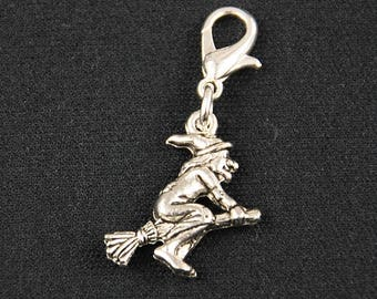 Witch Charm little magician plated on Broom Halloween Broom Riding Miniblings