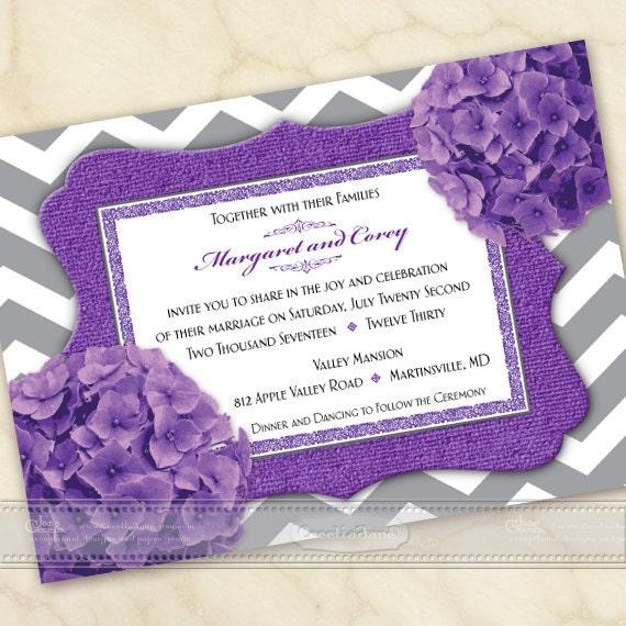 wedding invitation, purple wedding invitation, bridal shower invitation, purple chevron wedding invitation, gray and lavendar shower, IN543