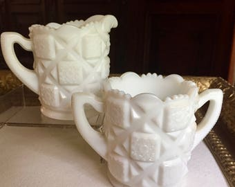 Vintage Milk Glass Open Individual Sugar and Creamer (Small Size) Westmoreland Old Quilt Pattern