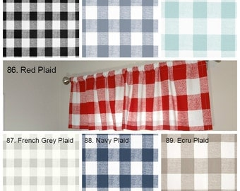 Curtain Valance Topper Window Treatment 52x15 Anderson Plaid Buffalo Check Valance Red Ecru Navy Black Choose Color