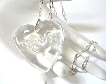 1970's Large Lucite Bubble Heart Pendant, Heart Pendant, Clear Lucite, Double Sided, Silver Chain, Gift Idea, Mother's Day, Excellent