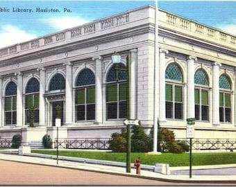 Hazleton, Pennsylvania, Public Library - Linen Postcard - Postcard - Unused (R)