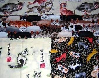 LOT -3 1/4 Yards -4 DIFFERENT quilt quality 100% cotton Cat Fabrics, kitten fabrics
