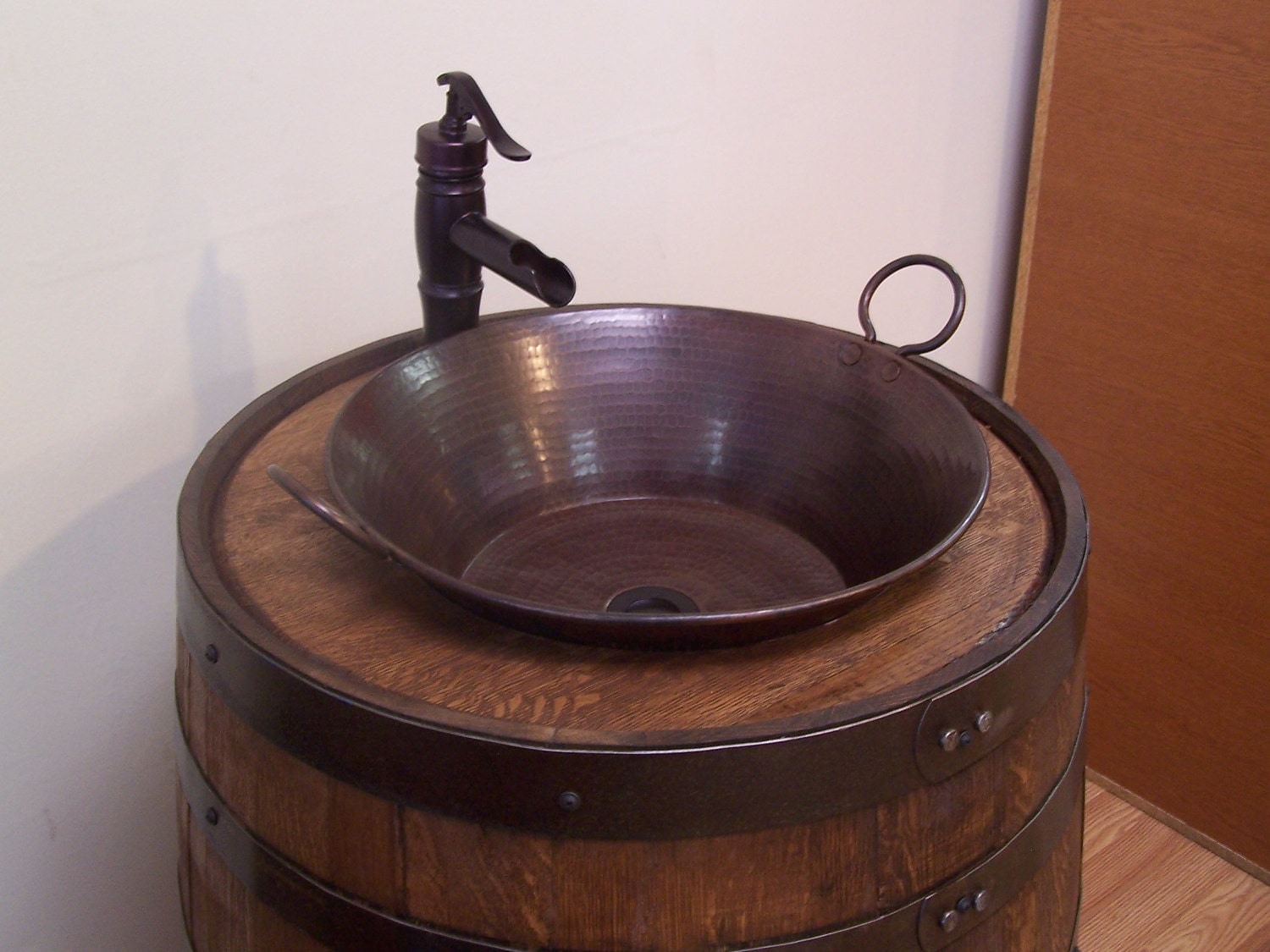 Whiskey Barrel Sink Darker Finish Copper Vessel Sink Bronze