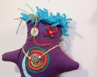 "Purple ""witchy"" doll  Art doll"