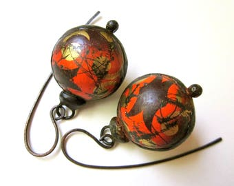 Don't Let Anybody Tell You Different -primitive vintage assemblage soldered orange gold brown tin hollow scratch bauble black metal earrings