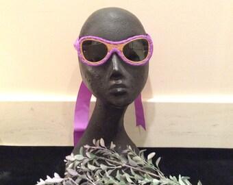 Vintage Purple Tie on Sunglasses, Vintage Fashion Glasses, Purple SunGlasses