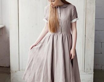 Plus Size Linen Clothing, Linen Shirt Dress, Collar Dress, Classic Short Sleeves Dress, Natural Linen Color Dress, Retro Clothing, Sun Dress