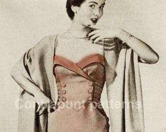 1940s sweetheart neck line dress pattern with cross buttoned bodice. With or without bolero