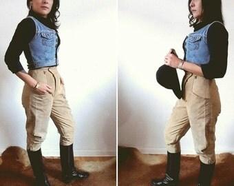 Gorgeous Vintage Beige Suede Leather Horse Riding Lace Gauchos Pants S