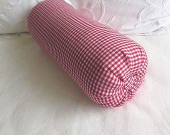 Gingham Check lumbar accent throw lumbar bolster pillow light red/white