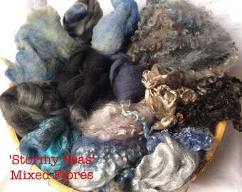 Dyed British Rare Breeds & Mixed Fibres for Blending. 130gms. Spinning, Felting supply. Merino, Teeswater, silk. 'Stormy Seas' Colourway