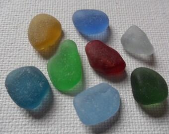 Multicoloured sea glass mix - 8 pieces of English beach glass including rare colours