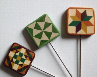 Polymer Clay Pin Toppers, decorative quilters pins