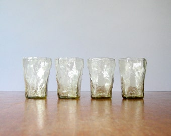 Four Mid Century Morgantown / Seneca Crinkle Drinking Glasses - Pale Amber