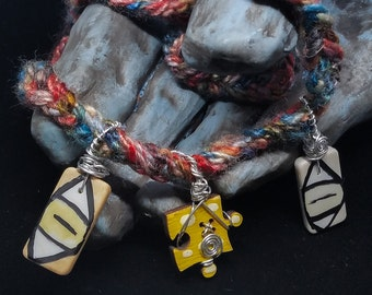 """OOAK Upcycled Domino and Wood Puzzle Piece Pendants on 25.5"""" Crocheted Yarn Necklace"""