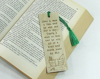 Fishing Bookmark. Wooden Bookmark. Wood Pyrography. Fishing Funny Quote. Fishing Quote. Fisherman Gift. Father's Day Gift. Gift for Dad