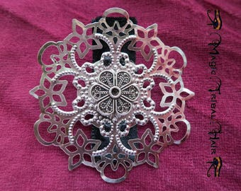 Hair Flower Boho fascinator and shoe clip 2 x silver Tribal Fusion Belly Dance hair jewelry Gothic hair accessory Gypsy Bohemian bag clip