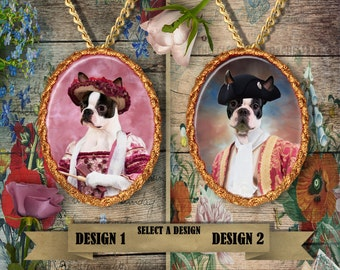 Boston Terrier Jewelry/Boston Terrier Pendant or Brooch/Boston Terrier Necklace/Dog Handmade Jewelry/Custom Dog Jewelry by Nobility Dogs