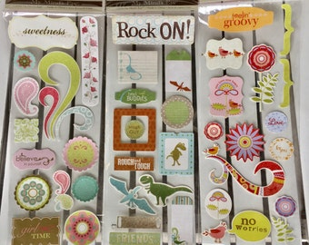Stickers, My Mind's Eye, glitter, 3 styles (feelin groovy, sweetness and rock on) pink, green, blue, brown for planner, scrapbook