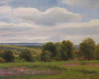June Landscape With Field, Plein Air June Landscape, Oil Painting of June Landscape, Summer Fields Painting, Trees In a Field,