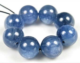 Premium Quality Silvery Blue Kyanite Round Bead - 9.5mm - 8 beads - B6561
