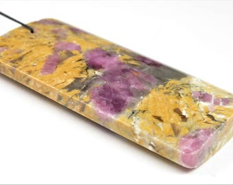 Gorgeous ~ Beautiful Large Pink Tourmaline in Quartz Rectangle Pendant - 61.5mm x 29.5mm x 7.8mm - B7114