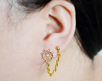 Nautical Anchor and Wheel Gold Double Lobe Earrings (Pair)