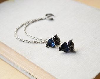 Dark Blue Owl Silver Double Chain Ear Cuff (Pair)