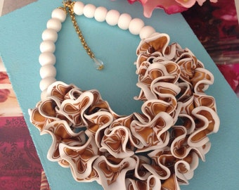 Statement necklace, gold and white necklace, funky jewelry, art jewelry