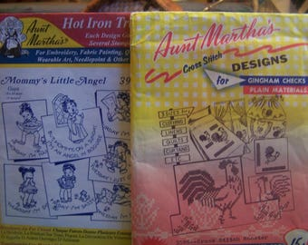 """Vintage Aunt Martha """"Cross Stitch Rooster"""" #3586 or """"Mommy's Little Angel Hot Iron Transfers for  Embroidery Uncut (#2)"""