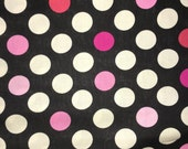 Black and Pink Polka Dots Fabric by the Yard