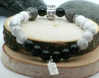 Bracelet hiboux, animal totem, agate noire, howlite, marbré, poussière d'étoile/ Owl animal totem, howlite