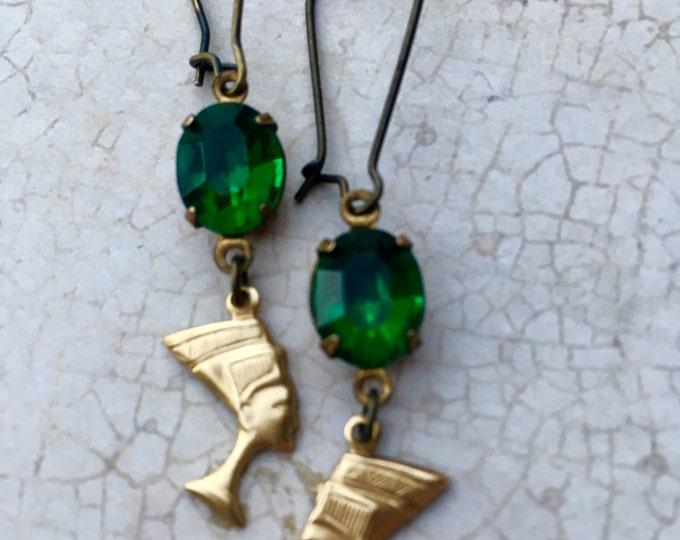 Jewelry, Earrings, Crystal Earrings, Vintage Earrings, Swarovski Earrings, Old Hollywood Glam, Nefertiti Charm Earrings, Old Hollywood Glam