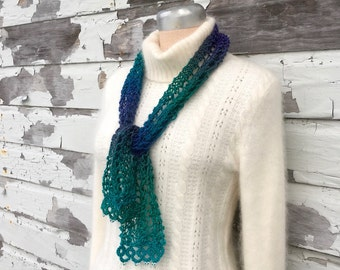 Ombre Lace Scarf with Glass Beads - Six Color Options