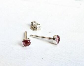 Pink Tourmaline Earrings / Second Hole Earrings / 3mm Stud Earrings / Pink Earrings / Dainty Jewelry / Romantic Jewelry / Girlfriend Gift