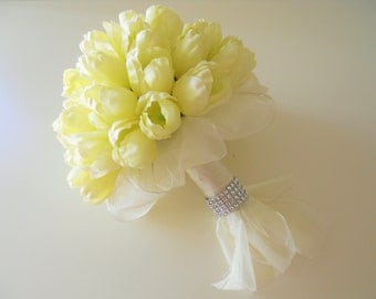 Ivory Cream Tulips Bridal Bouquet with simple and elegant touch up