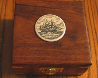 Teak Nautical Box with Langdon CHARLES W. MORGAN Portrait