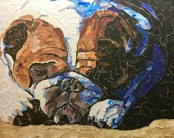 "Original Paper Mosaic Collage Dog Art by Michigan Artist  ""BULLDOZER"" Size 24 x 30 inches English Bulldog"