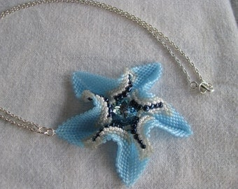Twisted Star Necklace, Blue Starfish Pendant, Statement Necklace, Starfish Pendant, Blue Necklace, Beadwoven Starfish