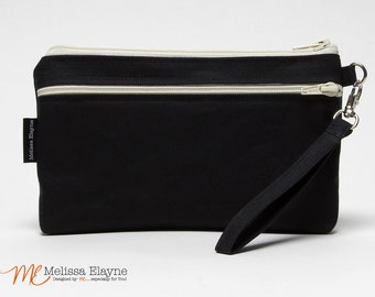 Waxed Canvas Wristlet for iPhone 6/7 Plus Otterbox, X-Large Wristlet Wallet, Galaxy Note Clutch -Handmade