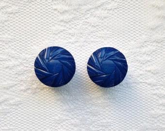 "Dark Blue Design Vintage Pair Plugs Gauges Size: 5/8"" (16mm)"