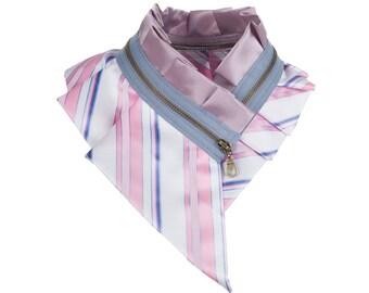 Collar necklace, unique accessory, zipper collar, silk collar, only one piece #181