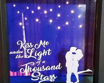 Kiss me under the light of a thousand stars, shadow box with battery operated LED lights, wedding, anniversary, Valentine's Day, gifts,