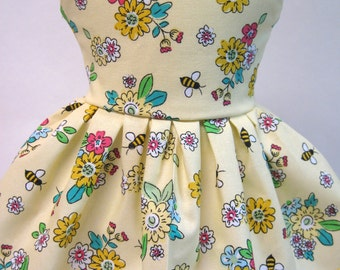 Honey Bees and Flowers, Sleeveless Dress for your American Girl Doll