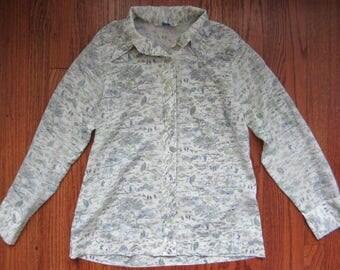 70s Vintage Sears Asian Landscape Long Sleeve Button Down Shirt