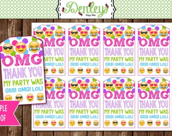 INSTANT DOWNLOAD: Emoji Thank You Tags