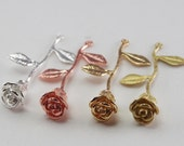 4 Pcs - Rose On Stem Pendant, Long Stem Rose, Bouquet, Flower, Leaves, Silver Gold Matte, Metal Jewelry Findings, Necklace (40x24MM)CON1714